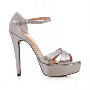 Sandale din piele argintie platina0