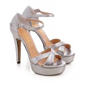 Sandale din piele argintie platina1