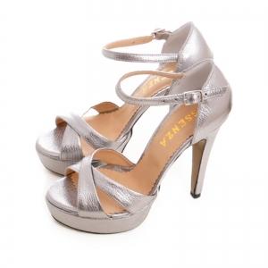 Sandale din piele argintie platina2