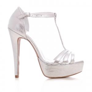 Sandale argintii, cu platforma0