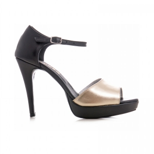 Sandale din piele neagra si auriue0