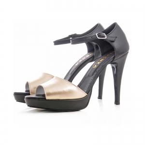 Sandale din piele neagra si auriue1
