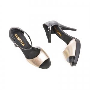 Sandale din piele neagra si auriue2