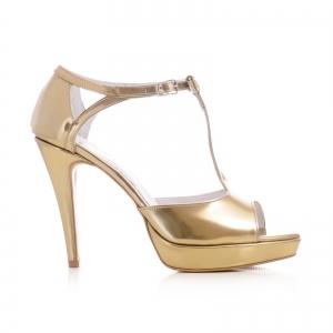Sandale cu fundita, din piele aurie lacuita0