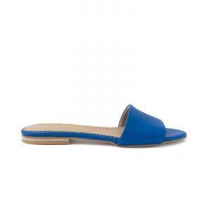 Flip flops din piele naturala albastru cobalt.0