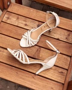 Sandale cu barete, din piele naturala, alb unt1