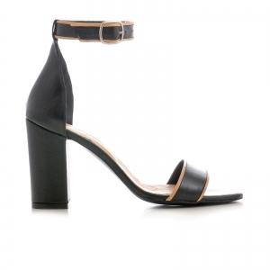 Sandale cu toc gros, din piele neagra cu si bej0