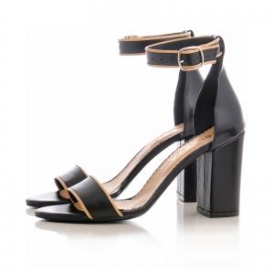 Sandale cu toc gros, din piele neagra cu si bej2