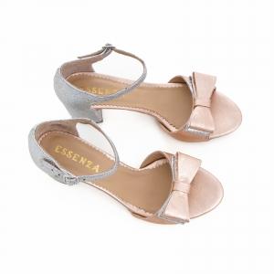 Sandale din piele laminata argintie si roze, cu funde duble.4