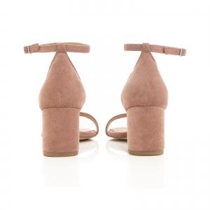 Sandale din piele intoarsa roz somon, cu toc gros.2