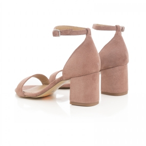 Sandale din piele intoarsa roz somon, cu toc gros.3