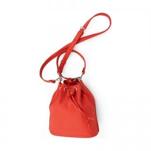 Poseta Kristy bucket din piele rosu corai2
