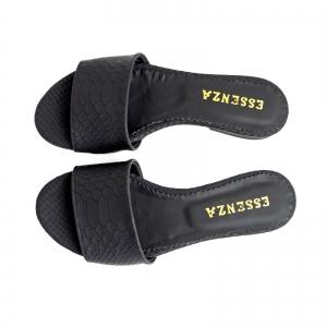 Flip flops din piele naturala neagra croco3