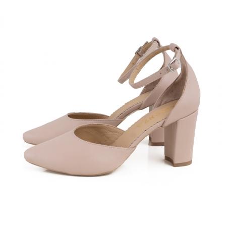 Pantofi cu decupaj si bareta la calcai, din piele naturala nude rose.1