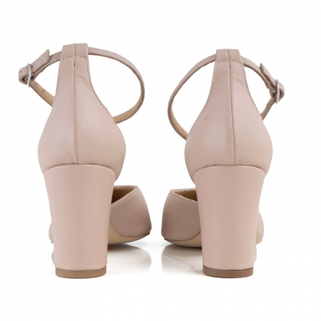 Pantofi cu decupaj si bareta la calcai, din piele naturala nude rose.2