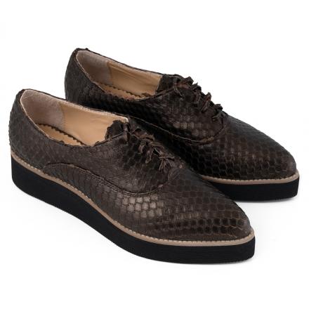 Pantofi oxford cu varf ascutit, din piele bronz metalizat cu aspect tip solzi3