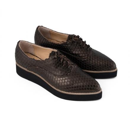 Pantofi oxford cu varf ascutit, din piele bronz metalizat cu aspect tip solzi2
