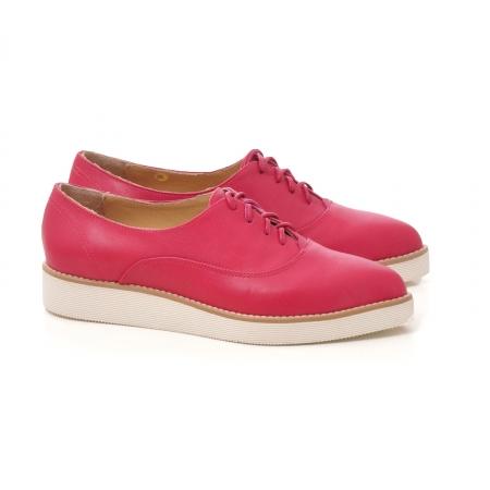 Pantofi oxford, cu varf ascutit, din piele ciclam.1
