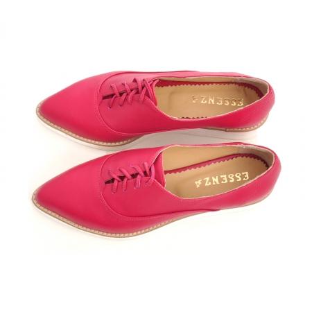 Pantofi oxford, cu varf ascutit, din piele ciclam.3