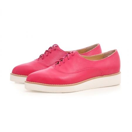 Pantofi oxford, cu varf ascutit, din piele ciclam.2