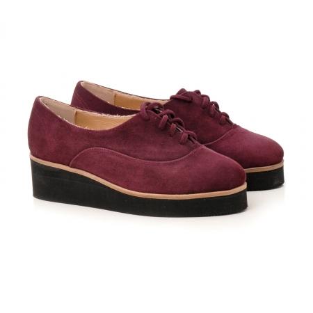 Pantofi oxford, din piele intoarsa mov1