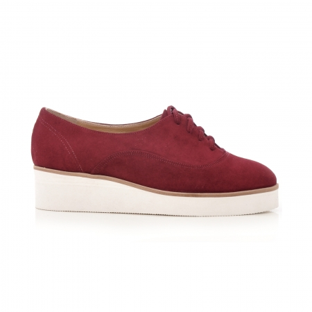 Pantofi oxford, din piele intoarsa visinie0