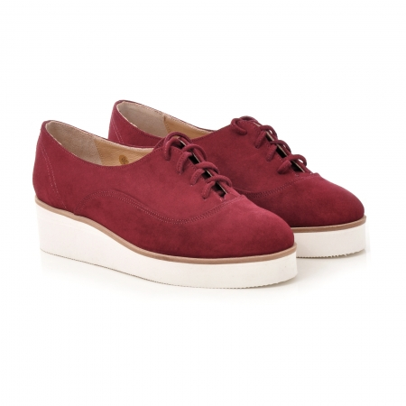 Pantofi oxford, din piele intoarsa visinie1