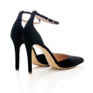 Pantofi stiletto cu decupaj interior si exterior. din piele intoarsa neagra2