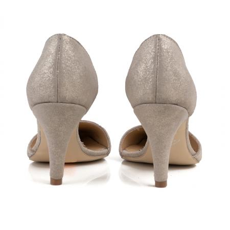 Pantofi stiletto decupati interior/exterior, realizati din piele intoarsa crem glitter3