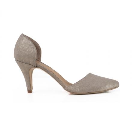 Pantofi stiletto decupati interior/exterior, realizati din piele intoarsa crem glitter0