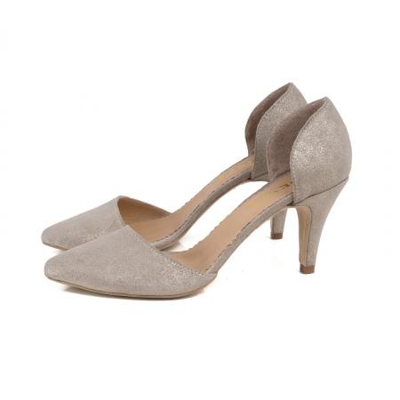 Pantofi stiletto decupati interior/exterior, realizati din piele intoarsa crem glitter1