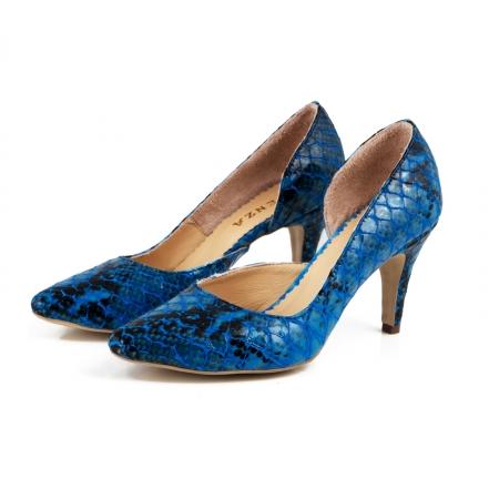Pantofi stiletto din piele lacuita cu aspect tip sarpe, albastru, cu decupaj interior1