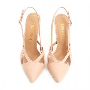 Pantofi stiletto din piele bej si plastic transparent1