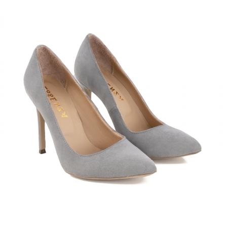 Pantofi Stiletto din piele intoarsa gri1
