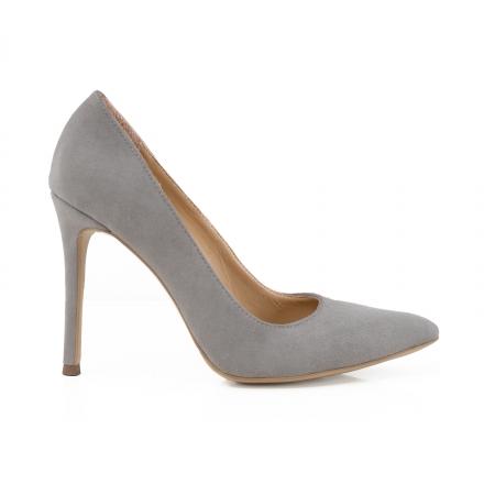 Pantofi Stiletto din piele intoarsa gri0