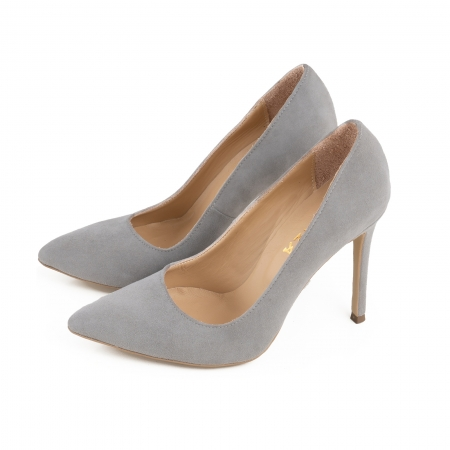 Pantofi Stiletto din piele intoarsa gri2