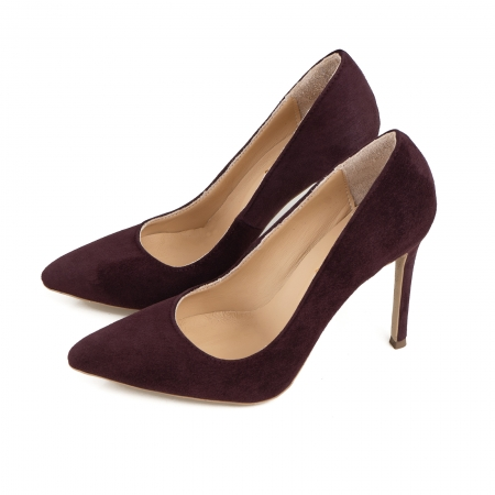 Pantofi Stiletto din piele intoarsa mov1