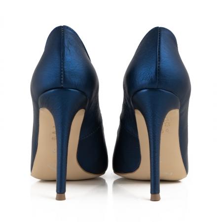 Pantofi Stiletto din piele laminata albastru metalic3
