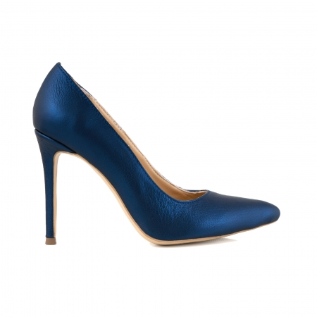 Pantofi Stiletto din piele laminata albastru metalic0