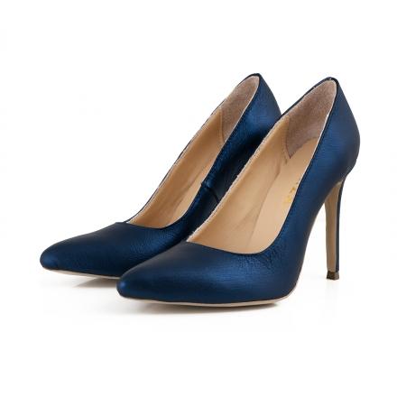 Pantofi Stiletto din piele laminata albastru metalic2