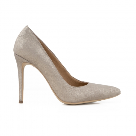 Pantofi Stiletto din piele naturala crem glitter0