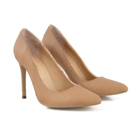 Pantofi Stiletto din piele naturala nude1