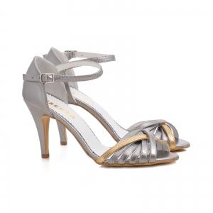 Sandale cu barete din piele argintiu platina1