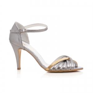 Sandale cu barete din piele argintiu platina0