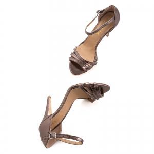 Sandale cu barete, din piele laminata bronz4