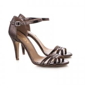 Sandale cu barete, din piele laminata bronz1