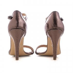 Sandale cu barete, din piele laminata bronz3