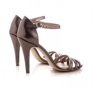 Sandale cu barete, din piele laminata bronz2