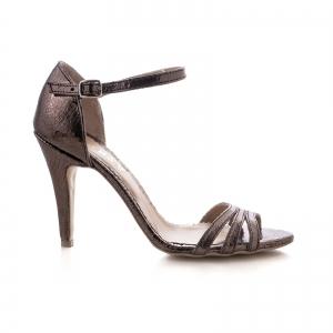 Sandale cu barete, din piele laminata bronz0
