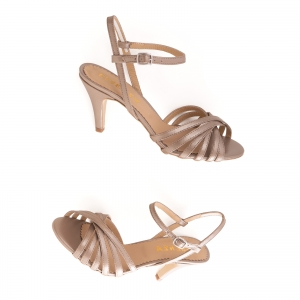 Sandale cu barete, din piele naturala bronz sidef2